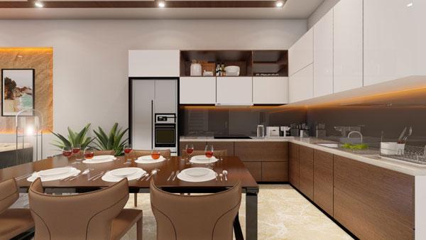 Không gian nhà bếp thoáng đãng sạch sẽ