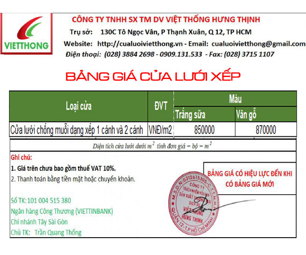 Bảng giá cửa lưới xếp chống muỗi Việt Thống